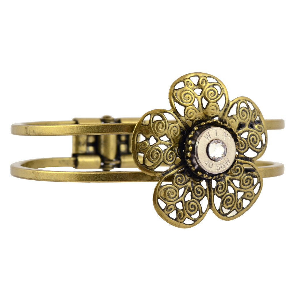 40 Caliber Bullet Flower Hinge Cuff, Nickel Casing Bracelet with Filigree in Brass with Clear Crystal