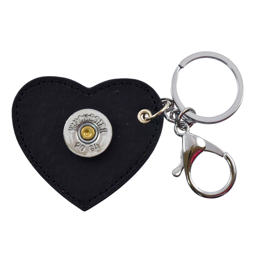 Shotgun Shell Heart Leather Keychain, 20 Gauge Bullet Casing in Silvertone