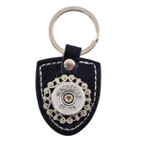 Shotgun Shell Shield Leather Keychain, 20 Gauge Bullet Casing in Silvertone