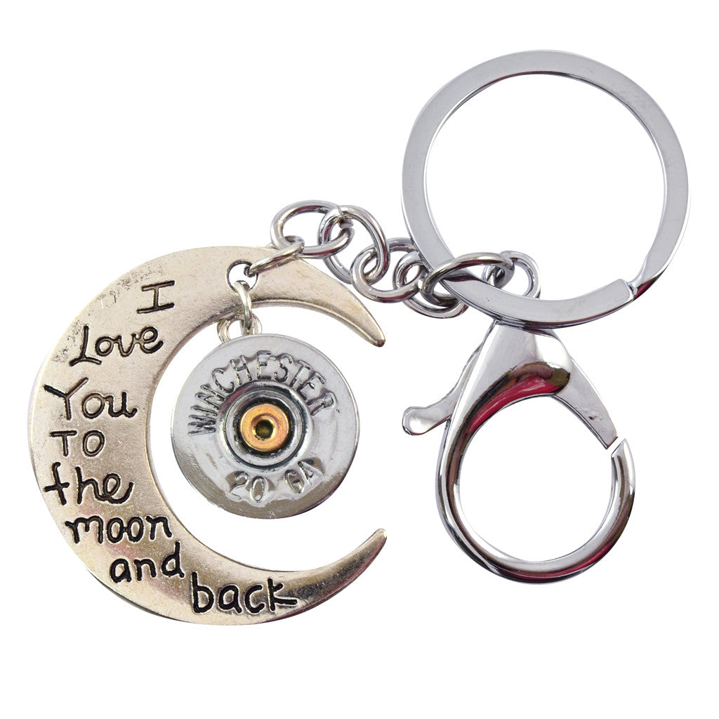 Shotgun Shell Moon and Back Leather Keychain, 20 Gauge Bullet Casing in Silvertone