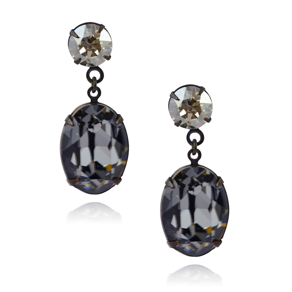 crystal diameter earrings white swarovski black stud diamond clear flower