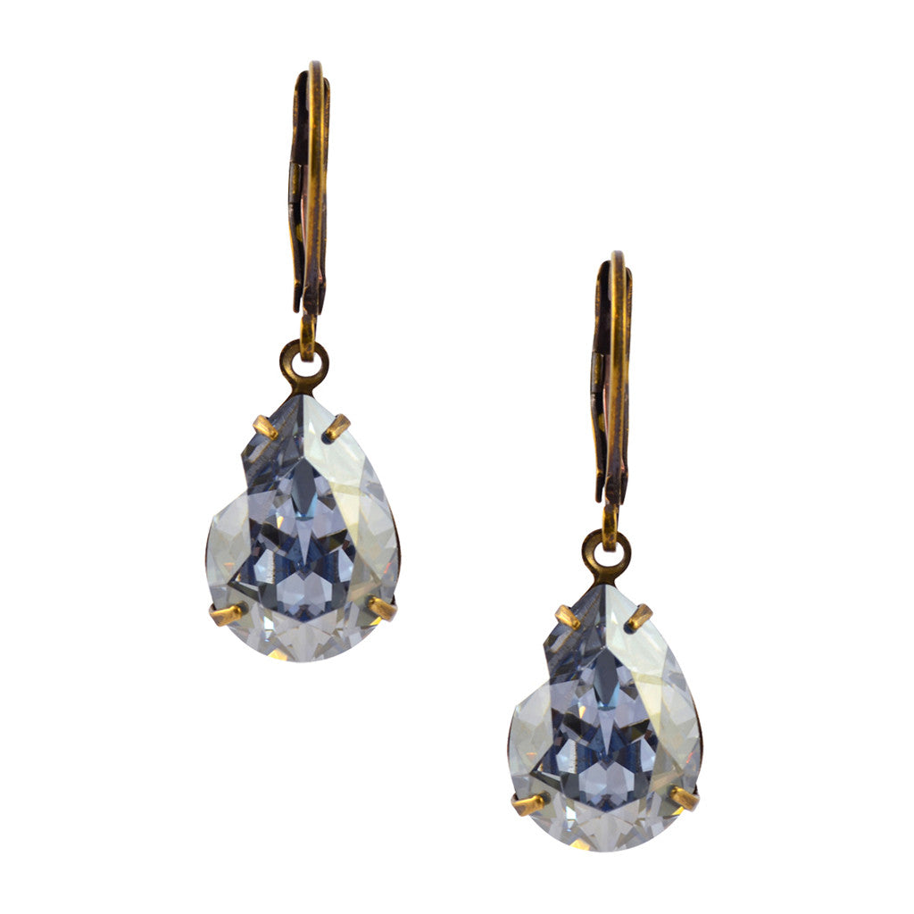 Liz Palacios Gold Plated Swarovski Crystal Round Dangle Earrings in Silver Shade