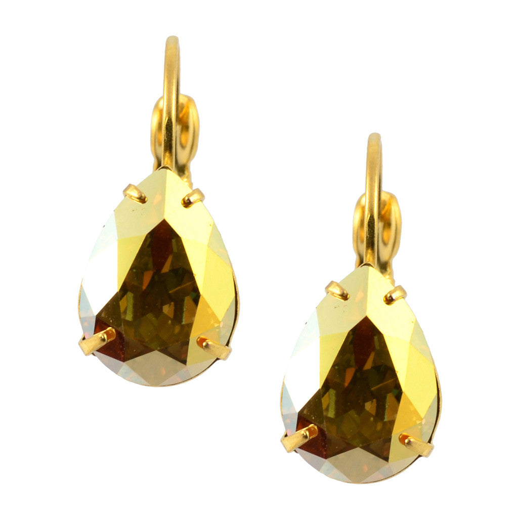 Liz Palacios Rounded Square Earrings, Gold Plated Swarovski Crystal Drop Earrings in Dorado