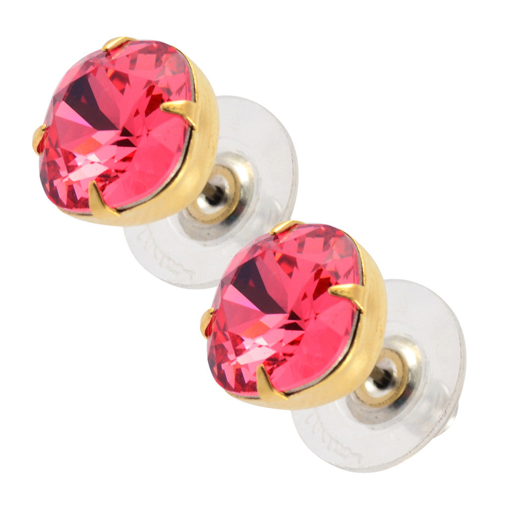 Liz Palacios Rounded Square Earrings, Gold Plated Swarovski Crystal Post Earrings in Peach Red