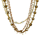 La Vie Parisienne Gold Plated 4 Layer Ball Pendant Necklace