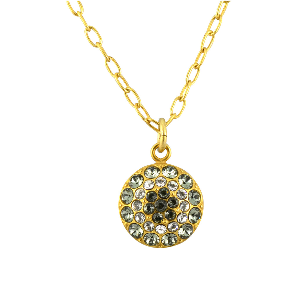 La Vie Parisienne Gold Plated Circle Crystal Pendant Necklace with Swarovski Crystal, 18""
