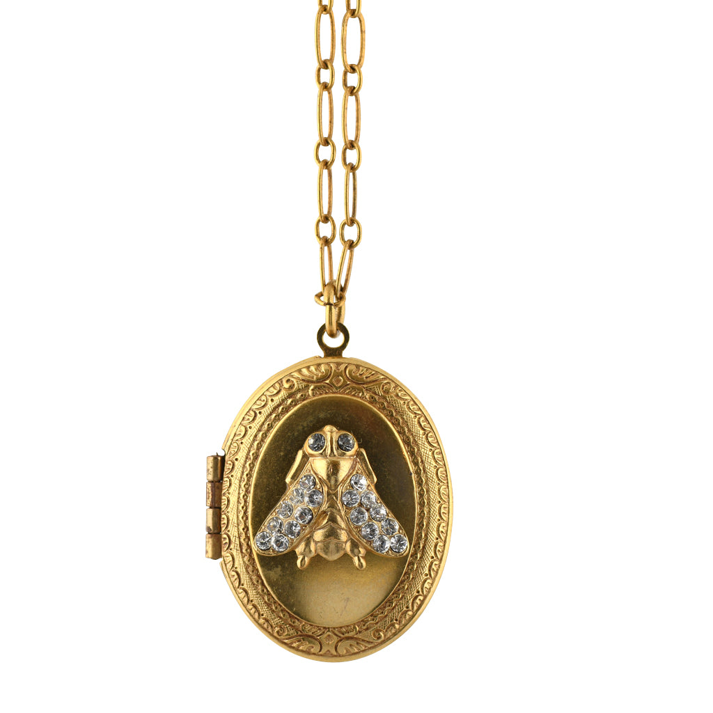 La Vie Parisienne Crystal Bee Locket Pendant Neckalce, Gold Plated