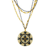 La Vie Parisienne Gold Plated Enamel Pendant Necklace with Multi Chain