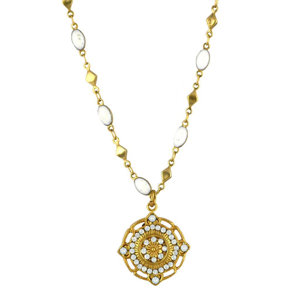 La vie Parisienne Gold Plated Round Pendant Necklace with Beaded Chain
