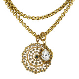 La vie Parisienne Gold Plated Large Pendant Necklace with Thick Double Chain