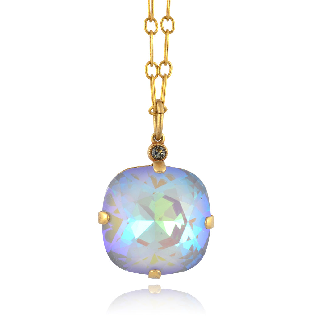La Vie Parisienne Gold Plated Large Rounded Square Swarovski Crystal Pendant Necklace, By Catherine Popesco,  16+2""