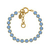 La Vie Parisienne Round Tennis Bracelet, Catherine Popesco Gold Plated By La Vie Parisienne, Air Blue Opal 8