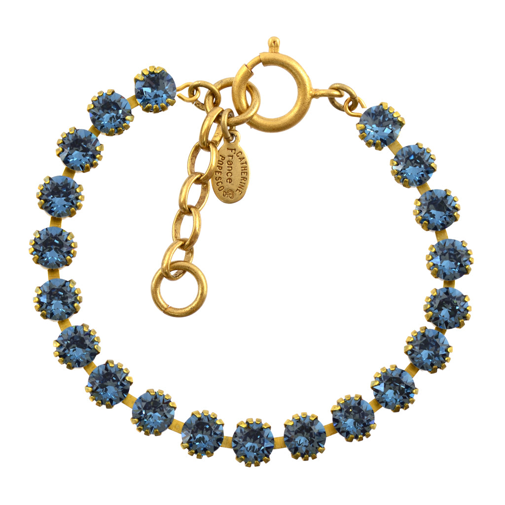 "Catherine Popesco Round Tennis Bracelet, La Vie Parisienne Gold Plated, 8"" Denim Blue"