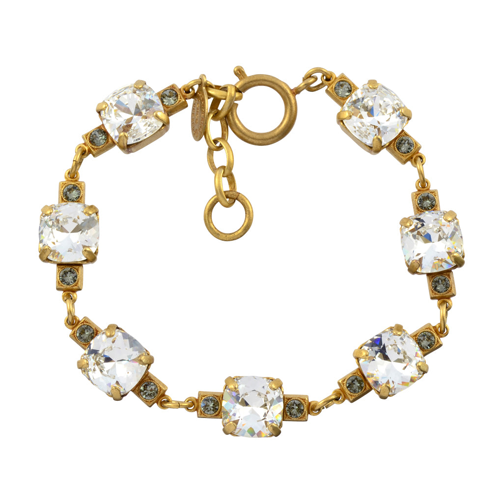 La Vie Parisienne Rounded Square Cluster Tennis Bracelet, Catherine Popesco Gold Plated, Clear 8""