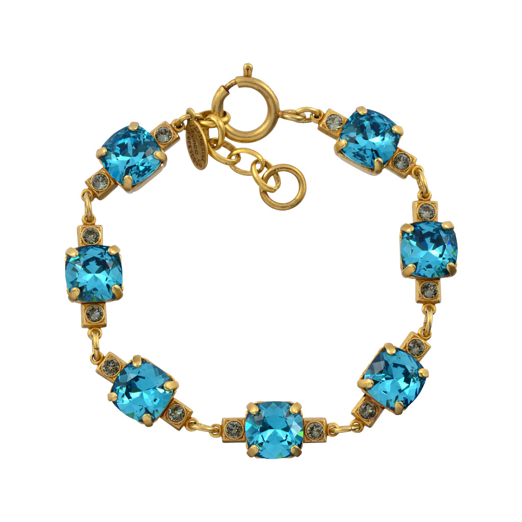 La Vie Parisienne Rounded Square Cluster Tennis Bracelet, Catherine Popesco Gold Plated, Teal 8""