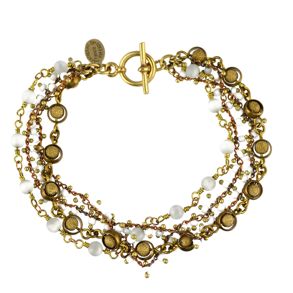 "Catherine Popesco 3 Layer Bead Tennis Bracelet, La Vie Parisienne Gold Plated, 8"" 1746G"