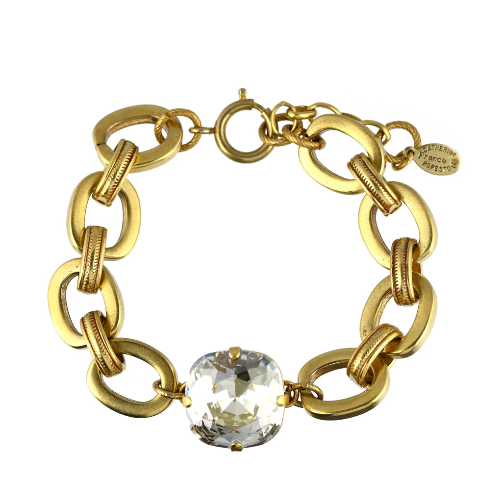 "Catherine Popesco Large Chain Tennis Bracelet, La Vie Parisienne Gold Plated, 8"" 1784G"