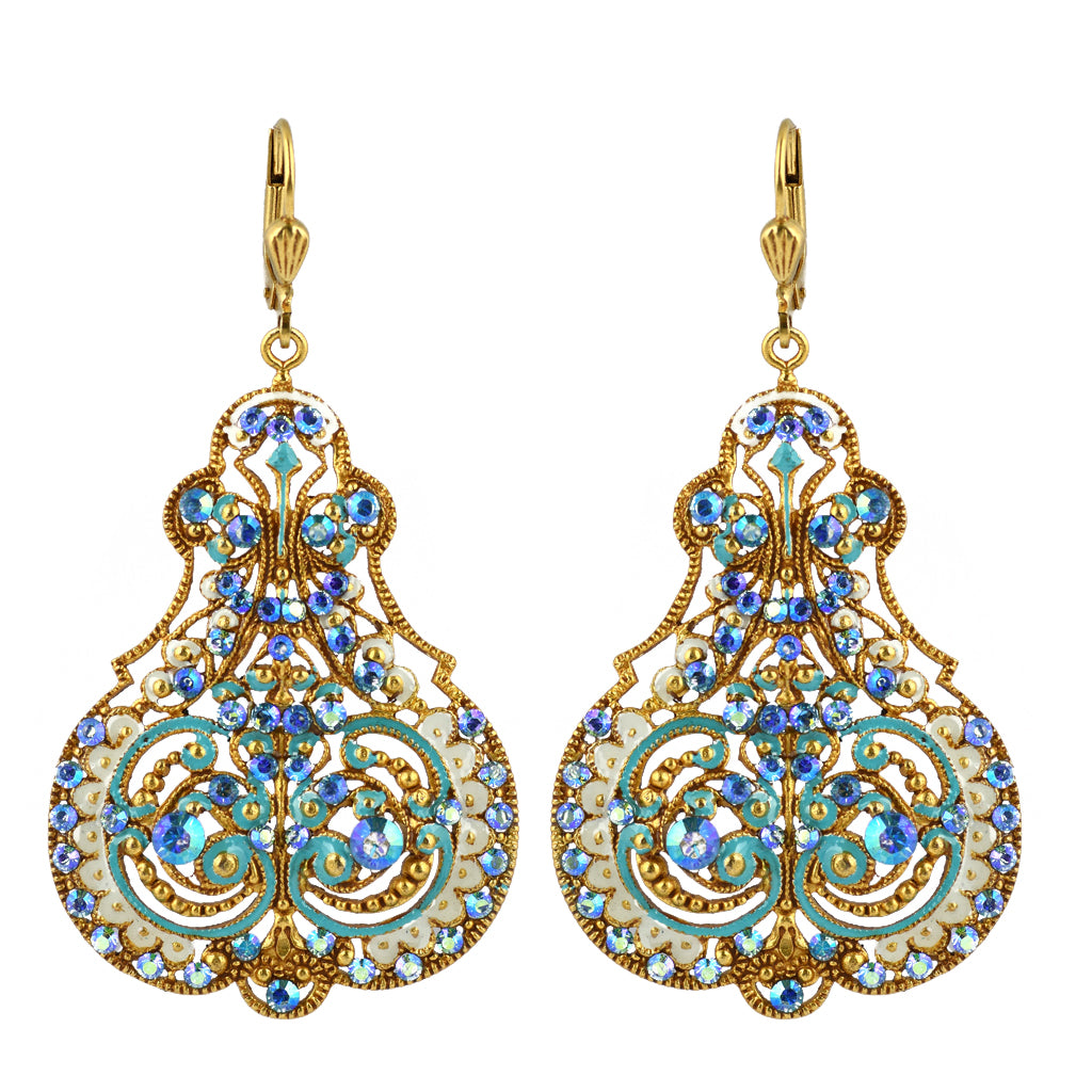 La Vie Parisienne Gold Plated Filigree Enamel Dangle Earrings