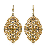 La Vie Parisienne Gold Plated Baroque Rhinestone Dangle Earrings