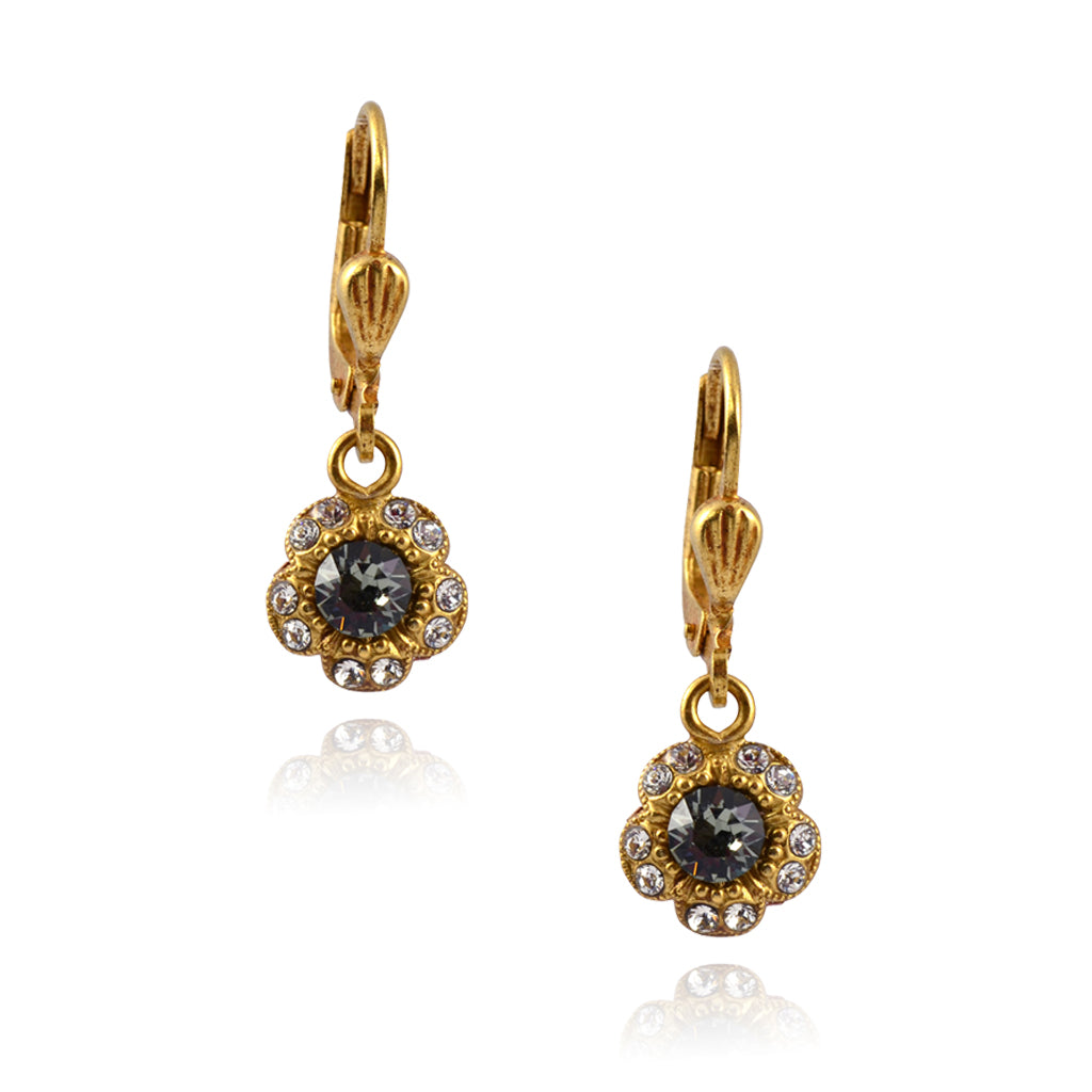La Vie Parisienne Gold Plated Baroque Flower Dangle Earrings