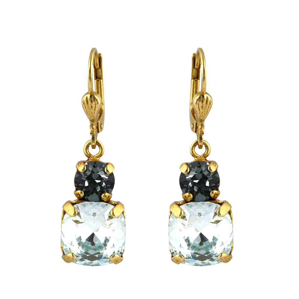 La Vie Parisienne Gold Plated Round Dangle Earrings with Light Blue Crystal