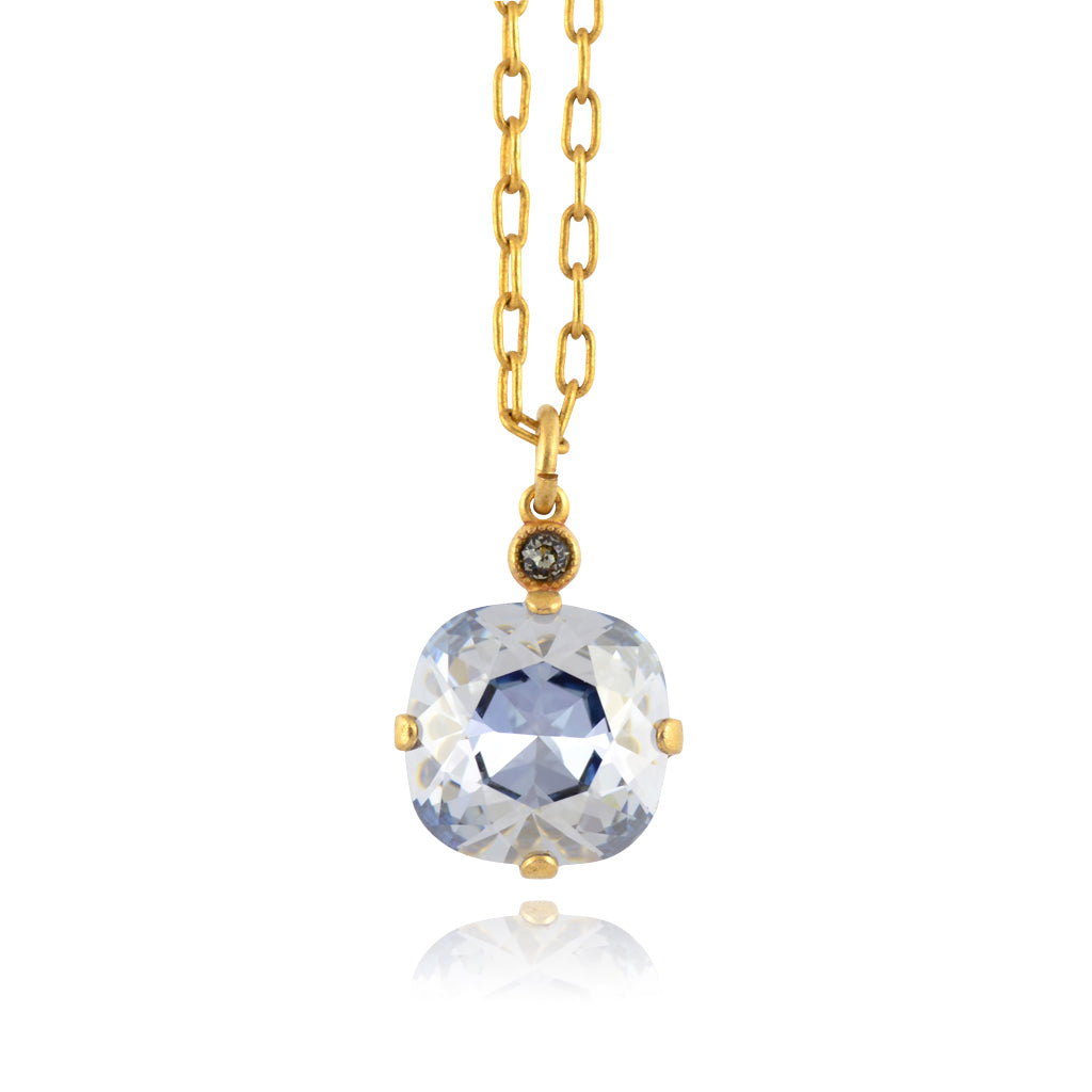 La Vie Parisienne Gold Plated Round Pendant Necklace with Swarovski Crystal, By Catherine Popesco, Blue Shade 16+2""