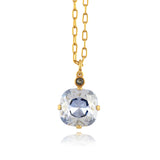La Vie Parisienne Gold Plated Round Pendant Necklace with Swarovski Crystal, By Catherine Popesco, Blue Shade 16+2