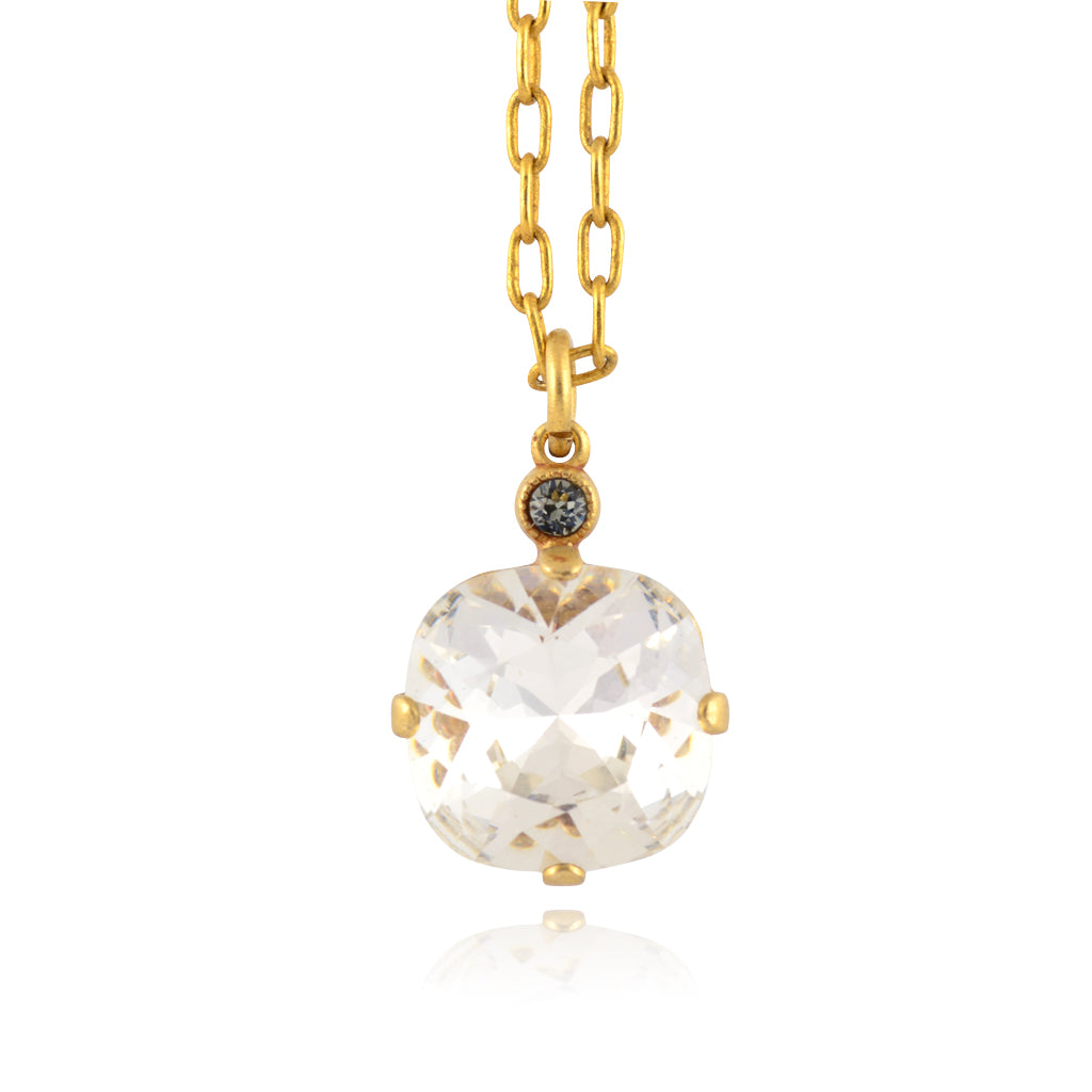 La Vie Parisienne Gold Plated Round Pendant Necklace with Swarovski Crystal, By Catherine Popesco, Clear 16+2""