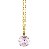 La Vie Parisienne Gold Plated Rounded Square Crystal Pendant Necklace
