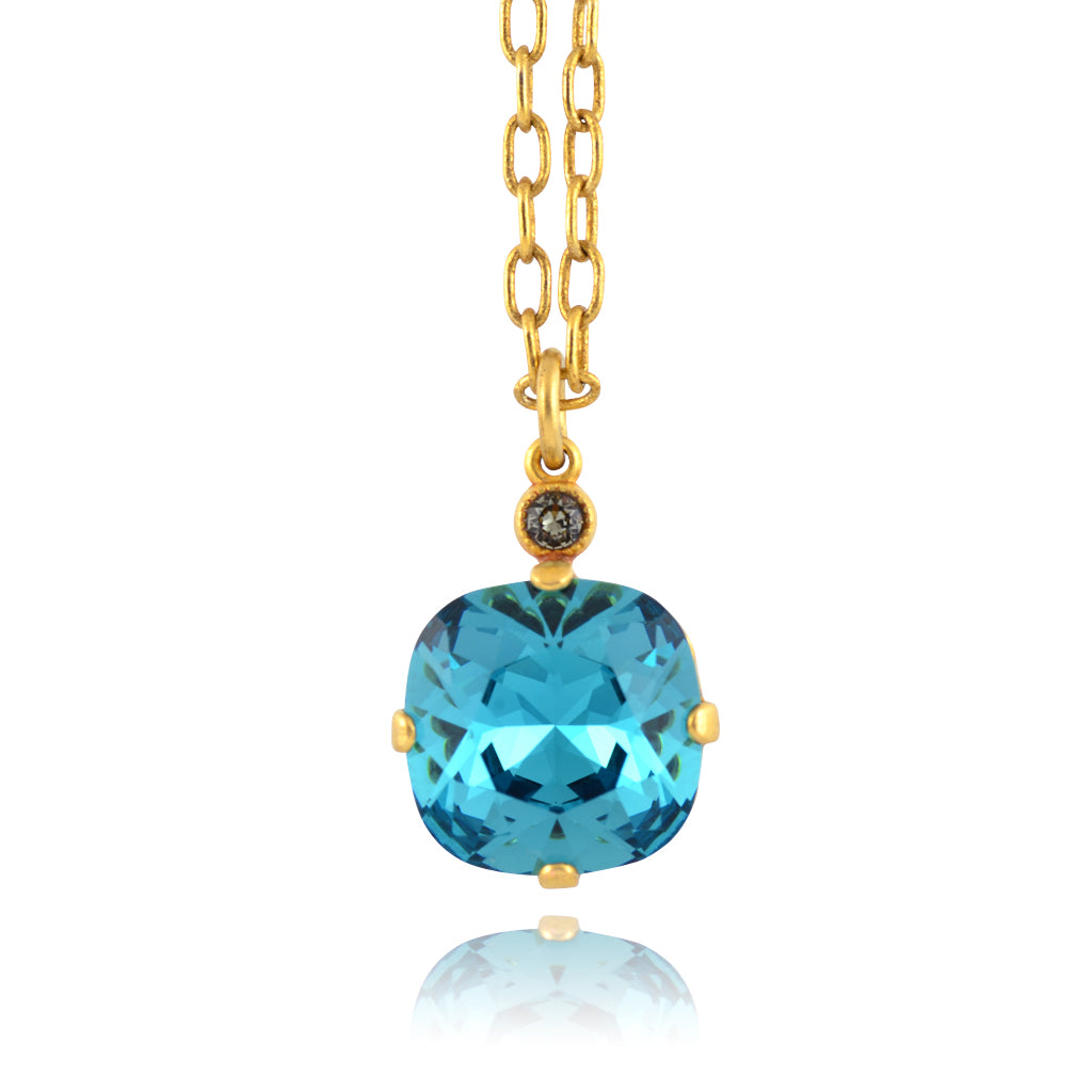 La Vie Parisienne Gold Plated Round Pendant Necklace with Swarovski Crystal, By Catherine Popesco, Teal 16+2""