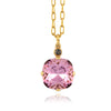 La Vie Parisienne Gold Plated Round Pendant Necklace with Swarovski Crystal, By Catherine Popesco, Vintage Rose 16+2