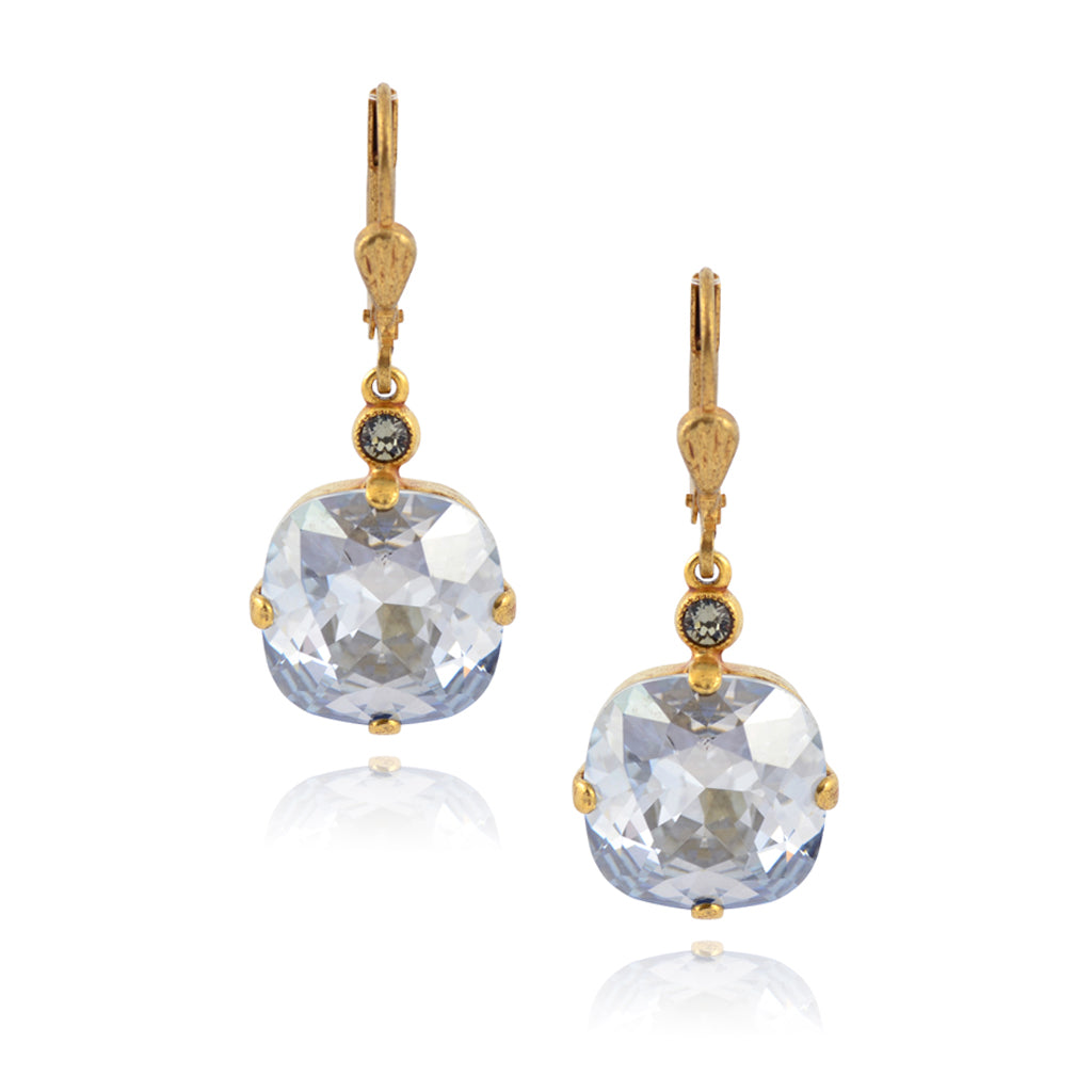 La Vie Parisienne Gold Plated Round Dangle Earrings with Swarovski Crystal, By Catherine Popesco, Blue Shade
