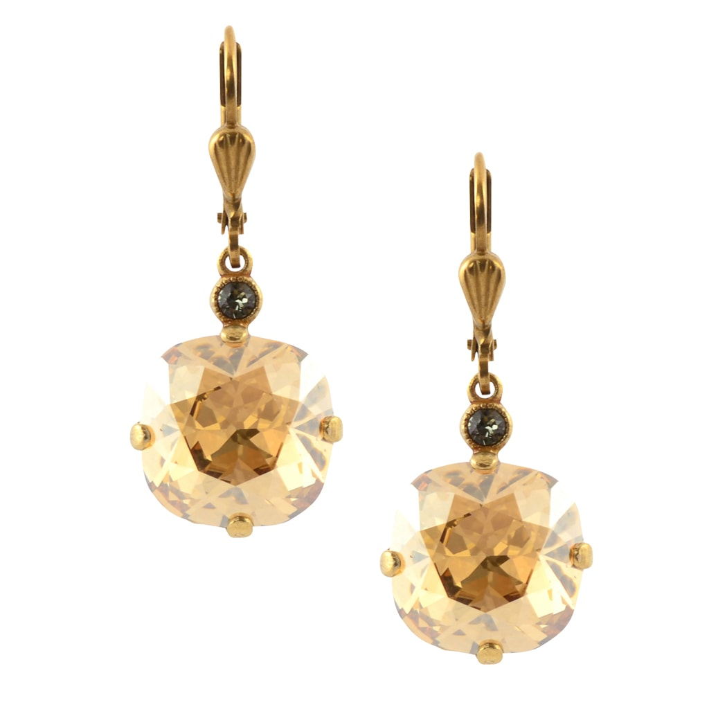 La Vie Parisienne Gold Plated Round Dangle Earrings with Swarovski Crystal