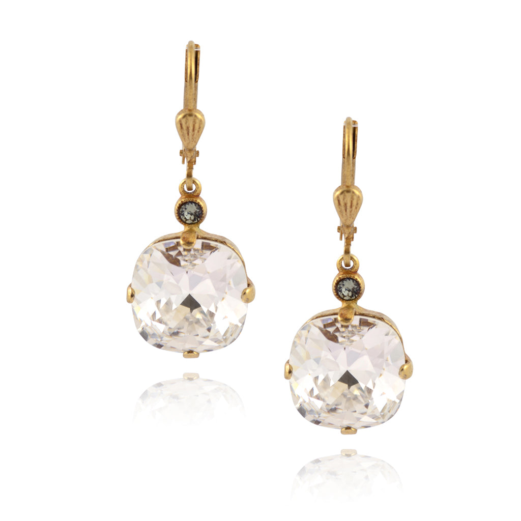La Vie Parisienne Gold Plated Round Dangle Earrings with Swarovski Crystal, By Catherine Popesco, Clear