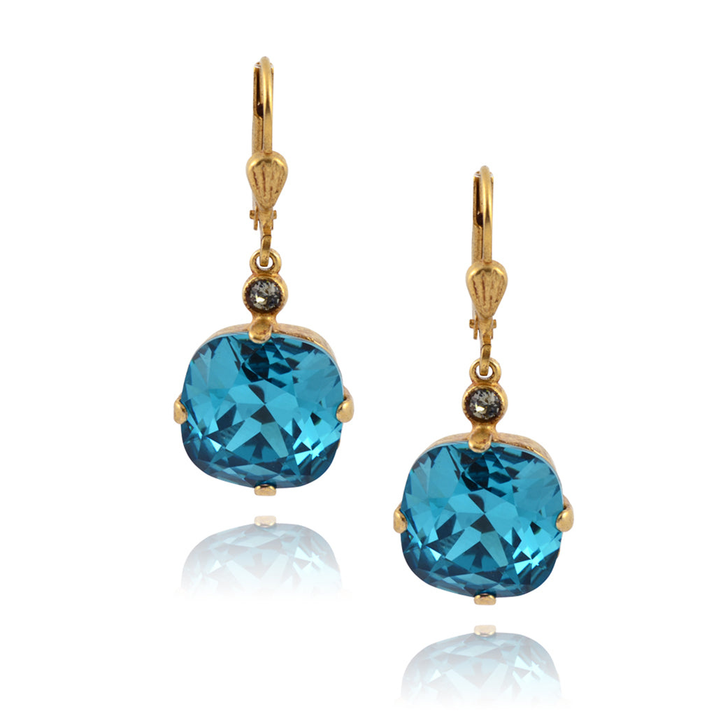 La Vie Parisienne Gold Plated Round Dangle Earrings with Swarovski Crystal, By Catherine Popesco, Teal