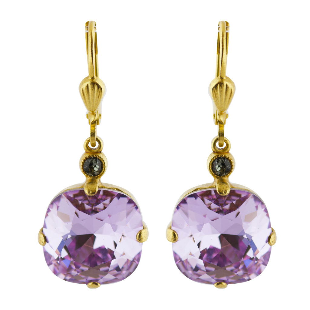 La Vie Parisienne Gold Plated Rounded Square Crystal Dangle Earrings