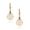 La Vie Parisienne Gold Plated Round Dangle Earrings with Swarovski Crystal, By Catherine Popesco, White Opal