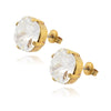 La Vie Parisienne Gold Plated Round Circle Stud Earrings with Swarovski Crystal, By Catherine Popesco, Clear