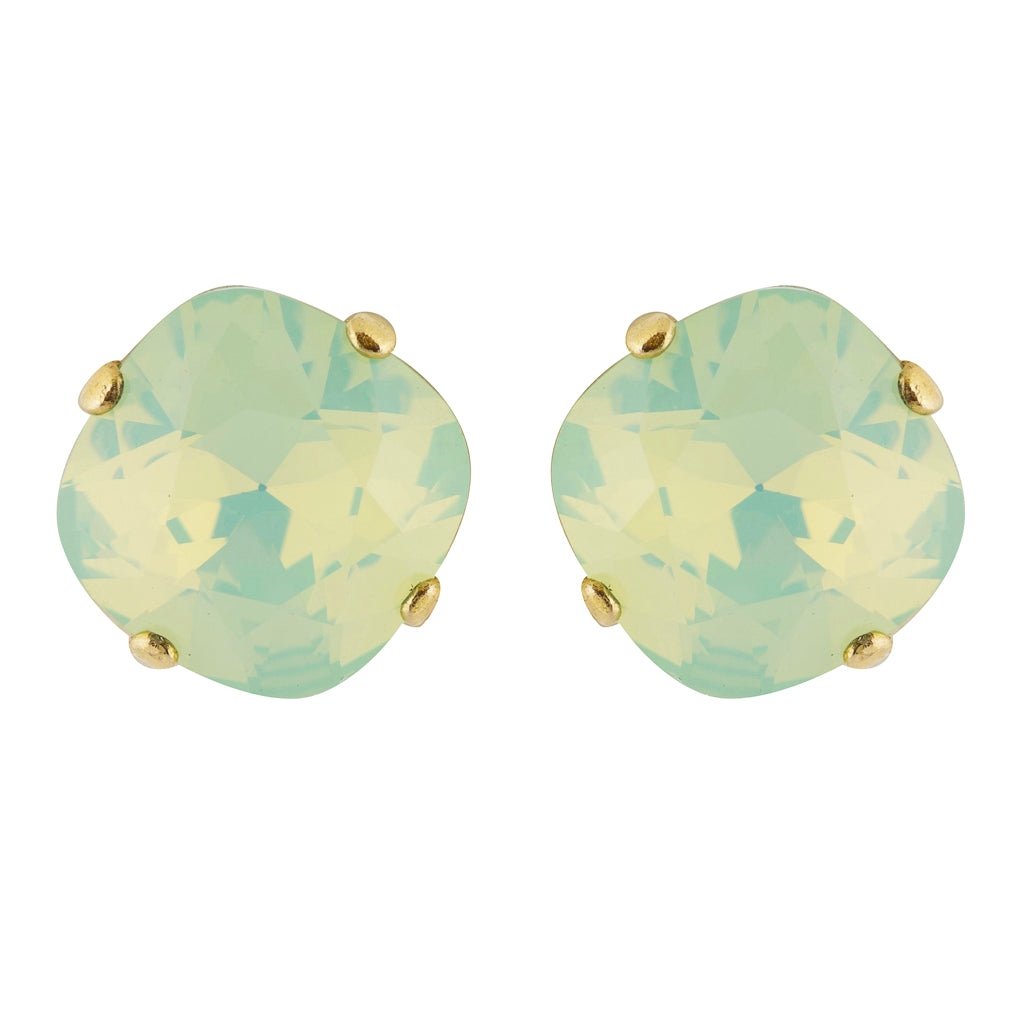 La Vie Parisienne Gold Plated Rounded Square Crystal Stud Earrings