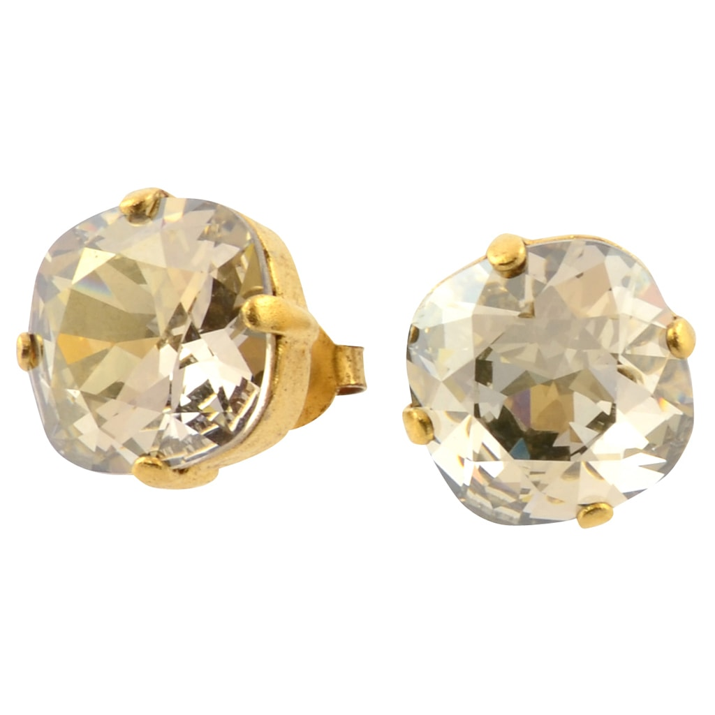 La Vie Parisienne Gold Plated Round Circle Stud Earrings with Swarovski Crystal