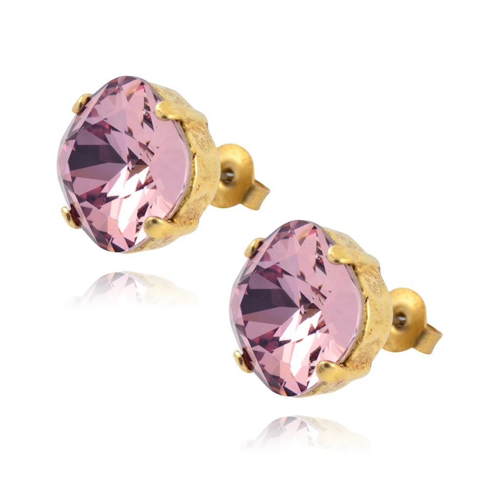 La Vie Parisienne Gold Plated Round Circle Stud Earrings with Swarovski Crystal, By Catherine Popesco, Vintage Rose