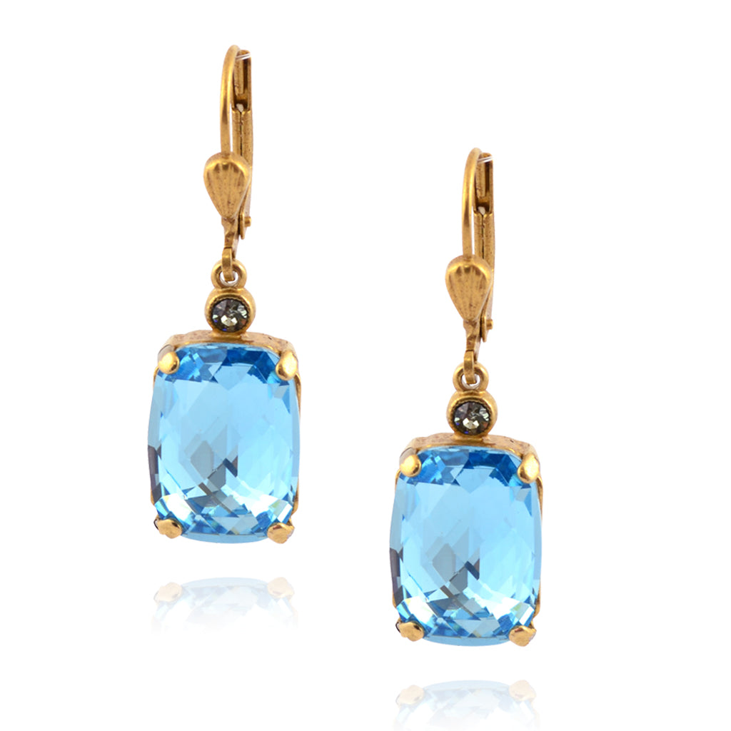 La Vie Parisienne Gold Plated Rectangle Dangle Earrings with Aqua Crystal