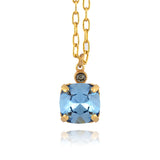 La Vie Parisienne Gold Plated Small Round Pendant Necklace with Swarovski Crystal, By Catherine Popesco, Midnight Blue 16+2