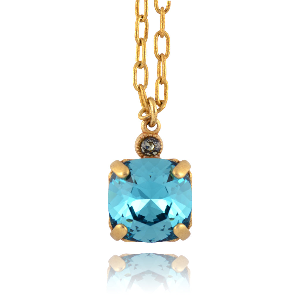 La Vie Parisienne Gold Plated Small Round Pendant Necklace with Swarovski Crystal, By Catherine Popesco, Teal 16+2""