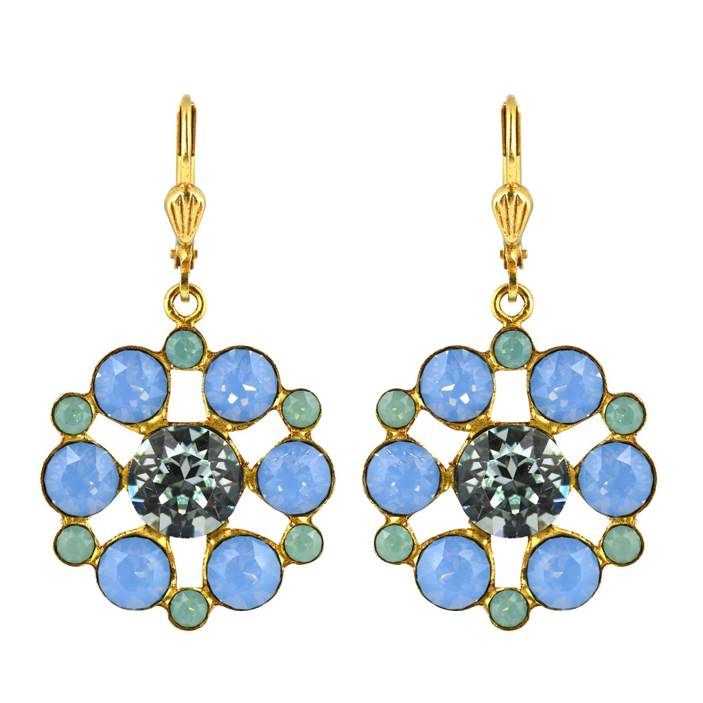 La Vie Parisienne Gold Plated Flower Dangle Earrings