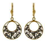 La Vie Parisienne Gold Plated Filigree Crescent Dangle Earrings