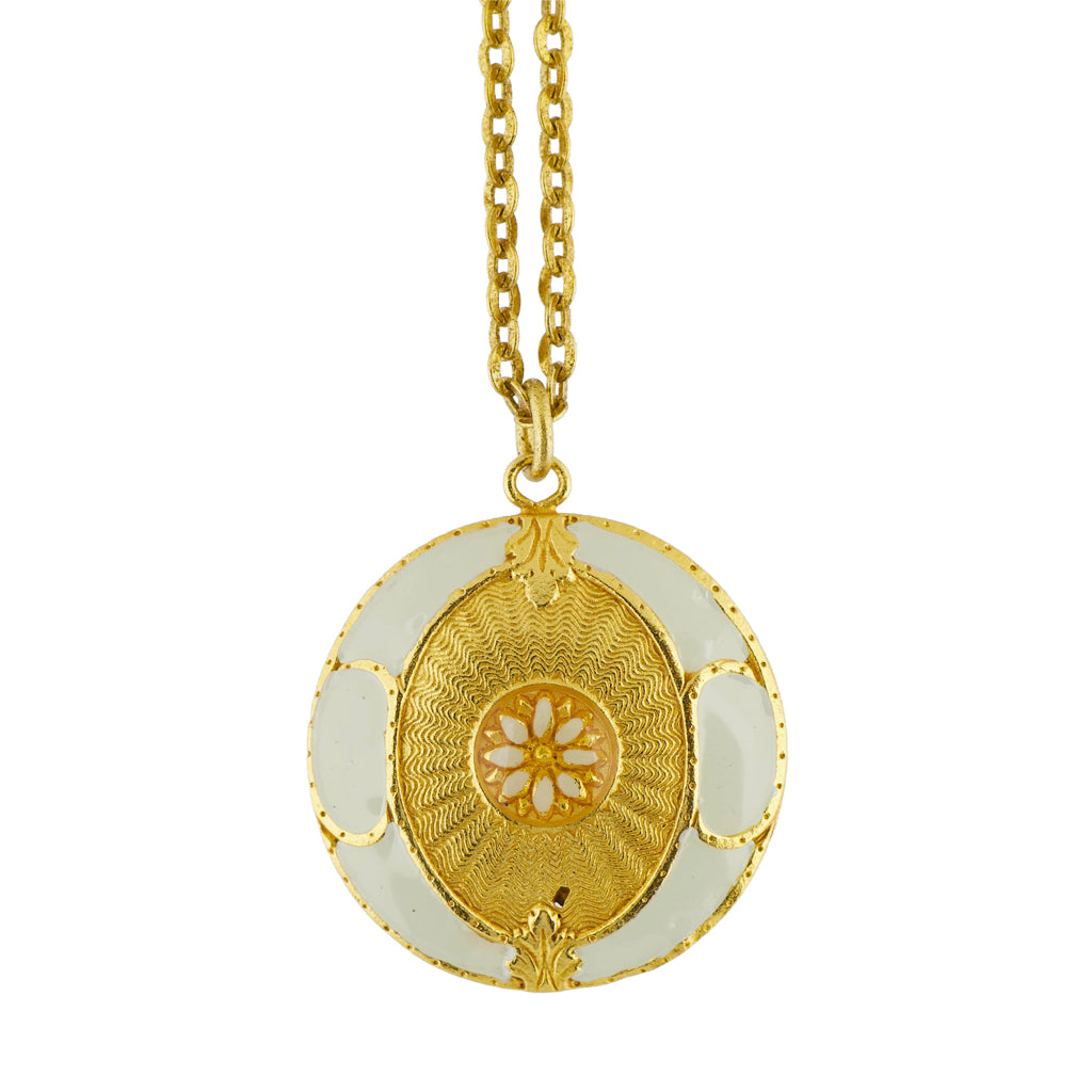 La Vie Parisienne Gold Plated Round Enamel Pendant Necklace