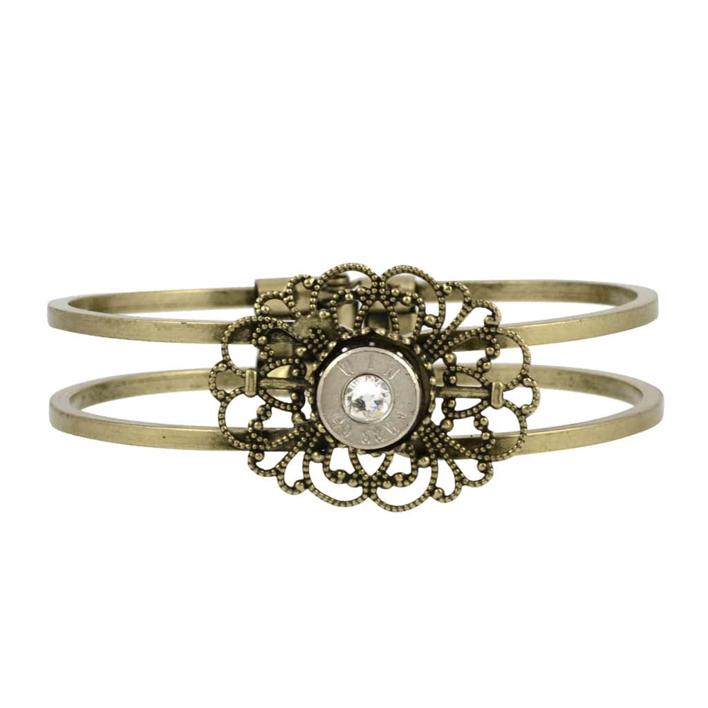 40 Caliber Bullet Hinge Cuff, Bullet Casing Bracelet with Filigree Design in Brass Finish