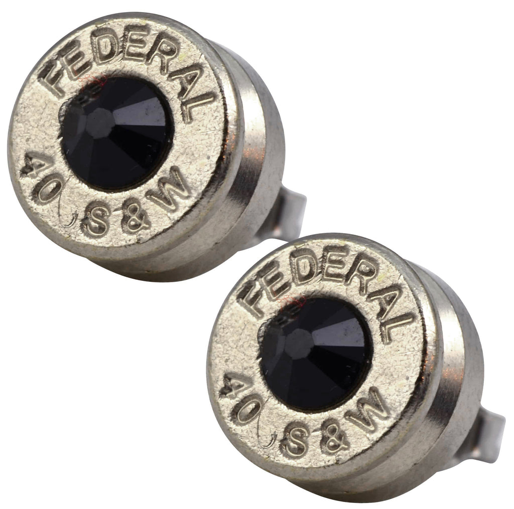 Little Black Gun Nickel Plated 40 S&W Bullet Shell Swarovski Crystal Stud Earrings