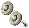 Little Black Gun Thin Nickel Plated 40 S&W Bullet Shell Swarovski Crystal Stud Earrings